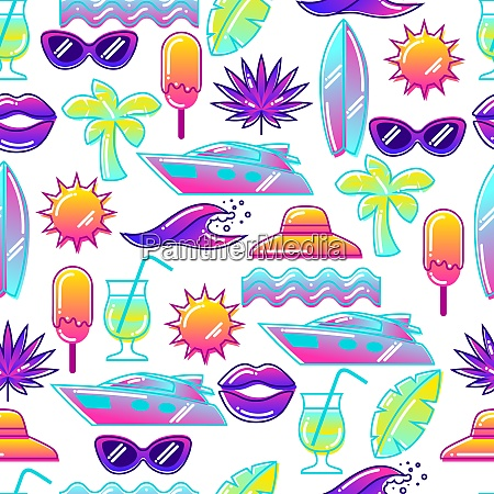 seamless pattern with stylized summer objects