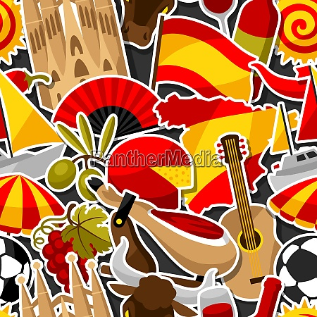 spain seamless pattern spanish traditional sticker