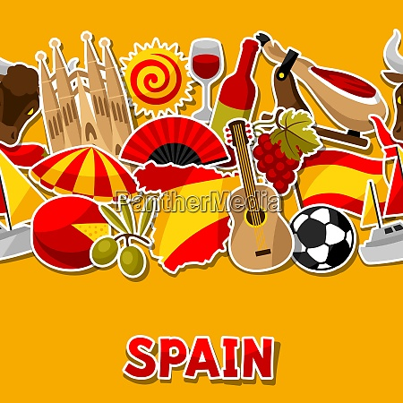 spain seamless pattern spanish traditional sticker