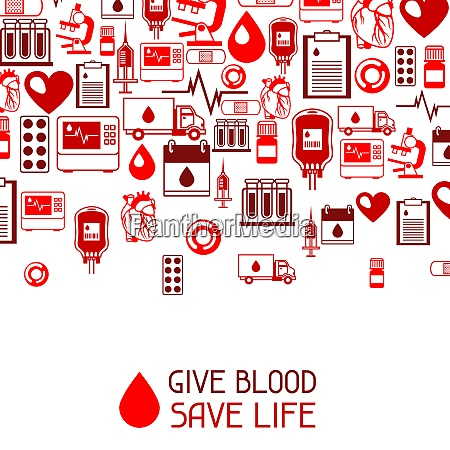 give blood save life background with