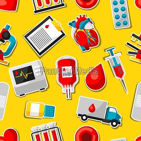 seamless pattern with blood donation items