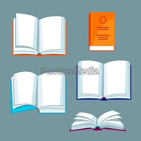 set of open books illustrations for
