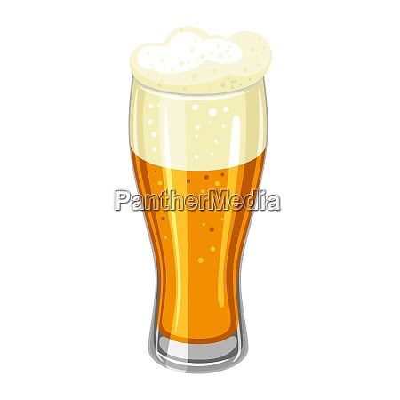 glass with light beer and froth