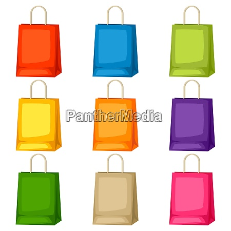colored shopping bags templates set of