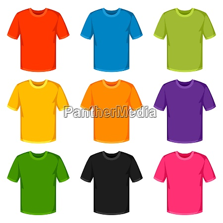 colored t shirts templates set of