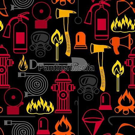 seamless pattern with firefighting items fire