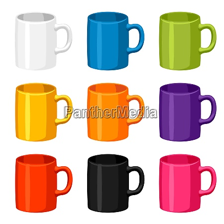 colored mugs templates set of promotional