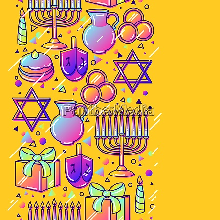 happy hanukkah celebration seamless pattern with