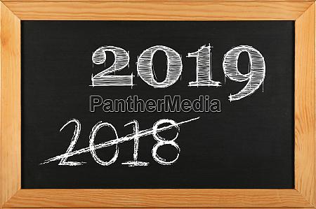 black school chalkboard with 2019 sign