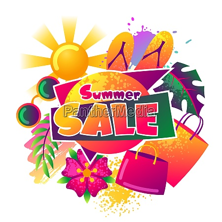 summer sale background with colorful elements