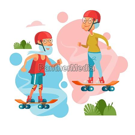 grandparents rides a skateboard the pensioner