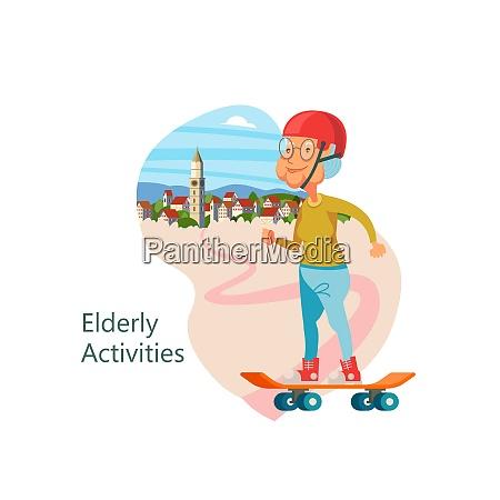 grandma rides a skateboard the pensioner