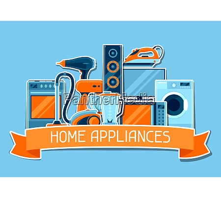background with home appliances household items