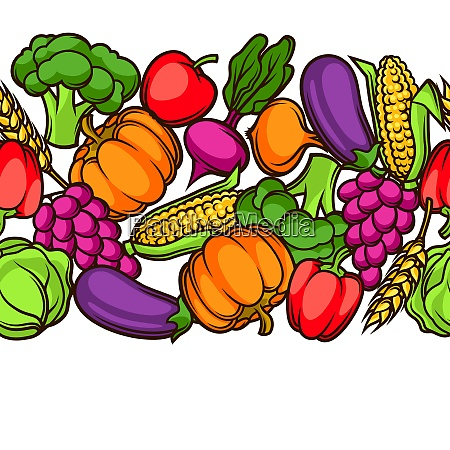 harvest seamless pattern autumn illustration with