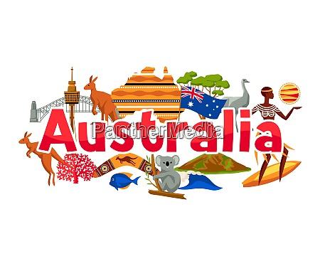 australia banner design australian traditional symbols