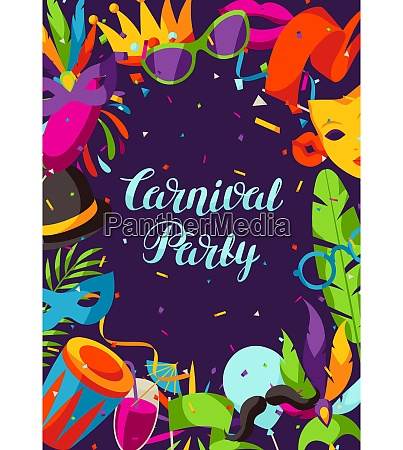 carnival party background with celebration icons