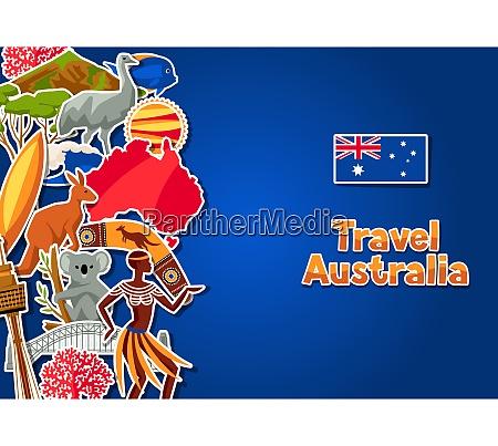 australia background design australian traditional sticker