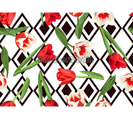 seamless pattern with red and white