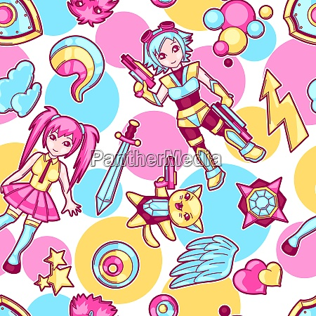 japanese anime cosplay seamless pattern cute