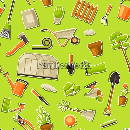 seamless pattern with garden tools and