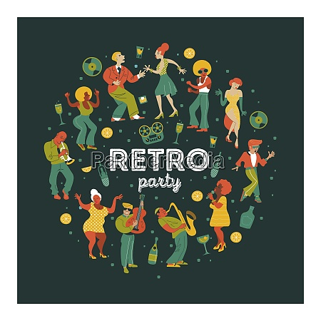 retro party people dance rock and