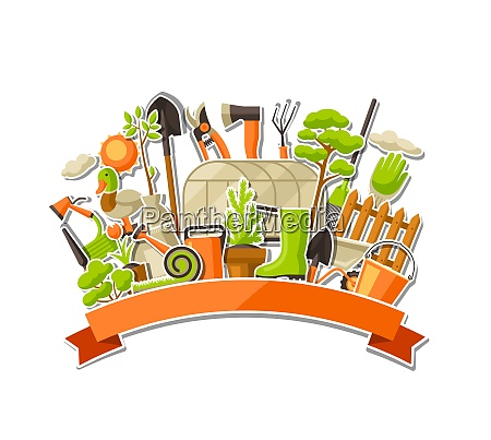 background with garden tools and items