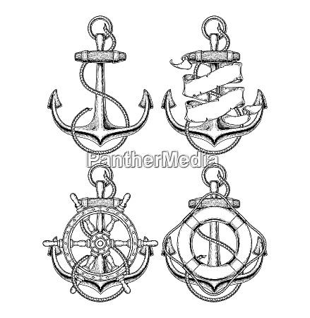 nautical anchor doodle set