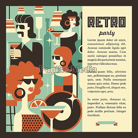 retro party men and women fashionably