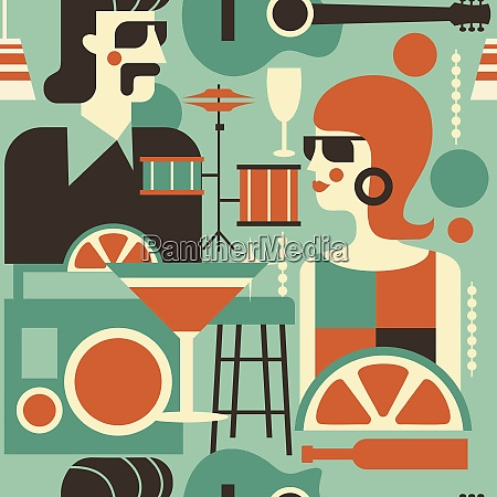 seamless pattern retro party poster vector