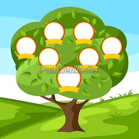 family genealogical tree with portraits of