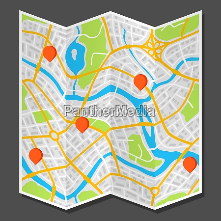 abstract city map with markers abstract
