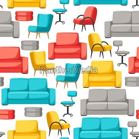 interior and furniture seamless pattern sofa