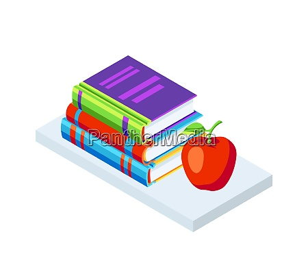 isometric icon books with apple isometric