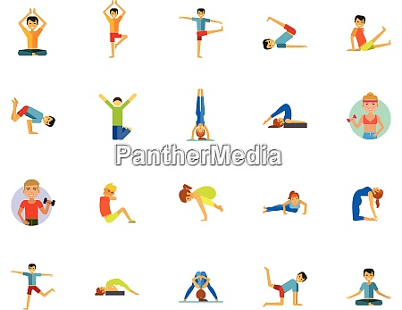 yoga icon set