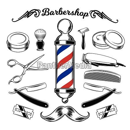 barbershop barber haircut hairstyle logo template