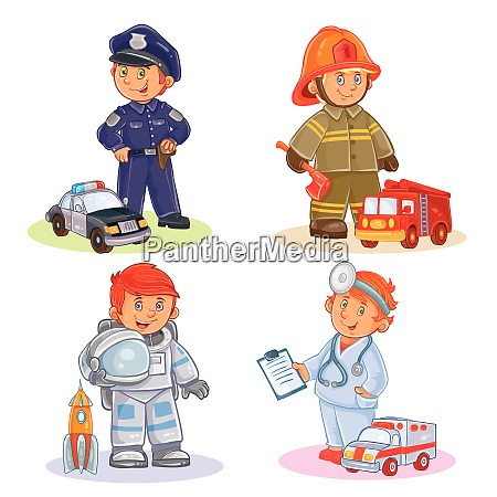 occupation set vector police astronaut doctor
