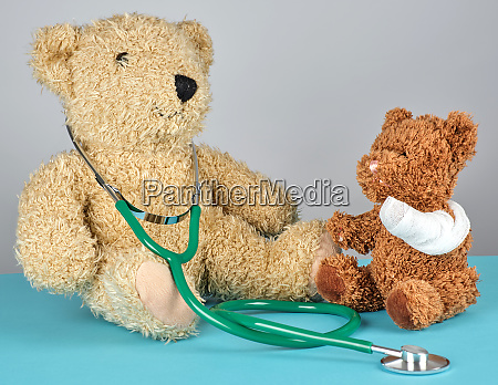 teddy bear with bandaged paw and
