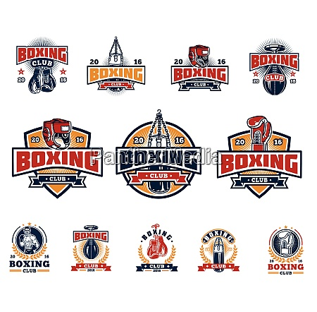 boxing sport label boxing sport label