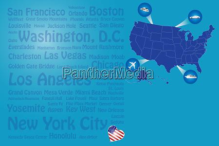 travel usa landmarks names template vector