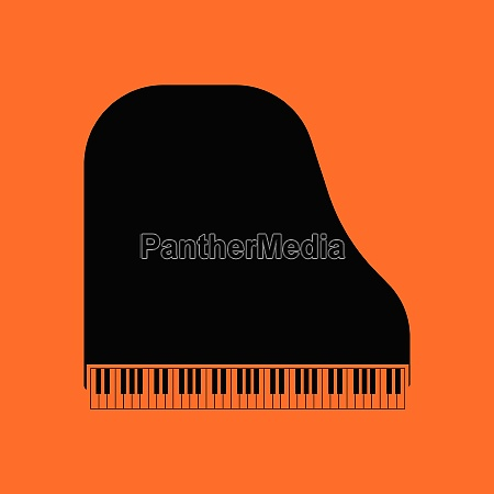 grand piano icon orange background with