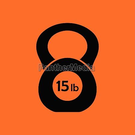 kettlebell icon orange background with black