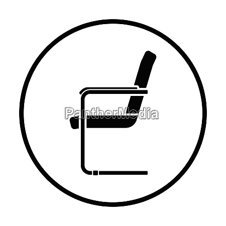 guest office chair icon thin circle