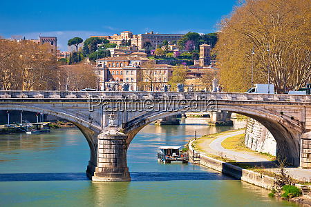 rome riverfront and tiber river bridges