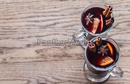 two glasses of mulled wine on