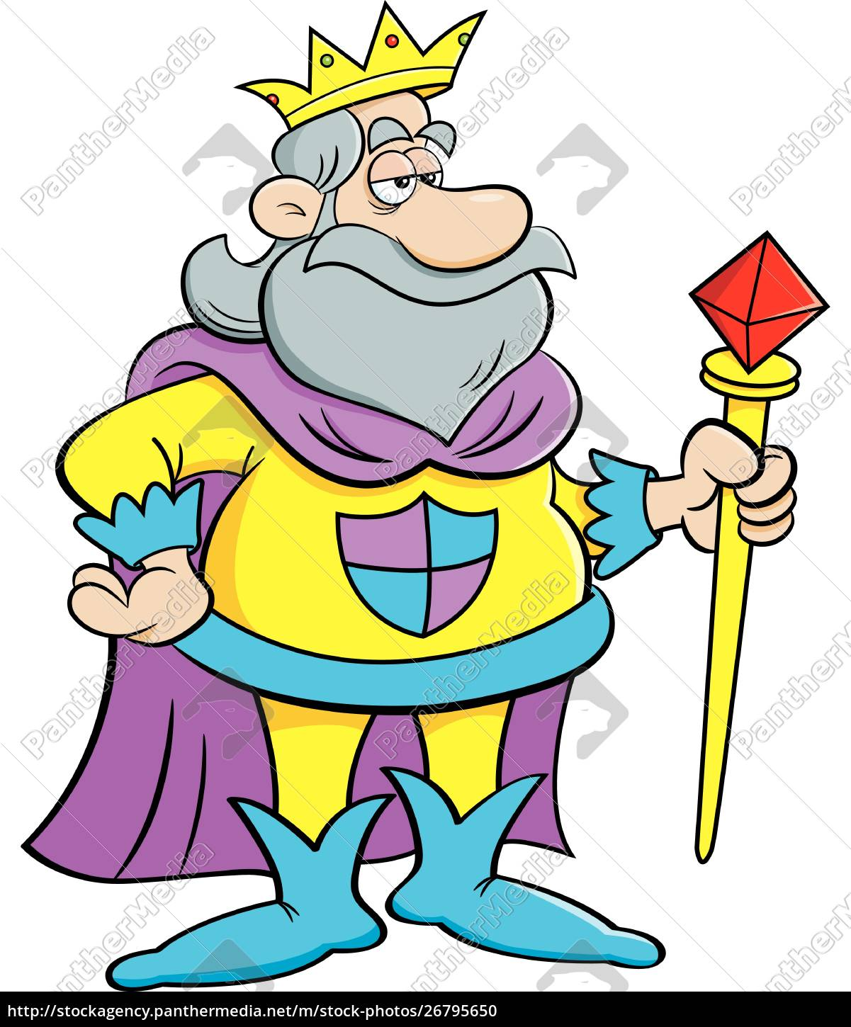 cartoon, illustration, of, a, king, holding - 26795650