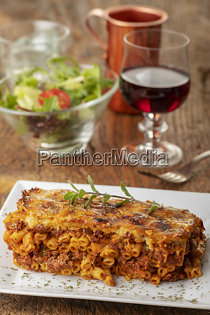 greek pastizio noodle dish with cheese