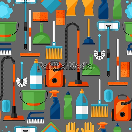 housekeeping lifestyle seamless pattern with cleaning