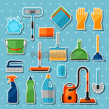 housekeeping cleaning sticker icons set image