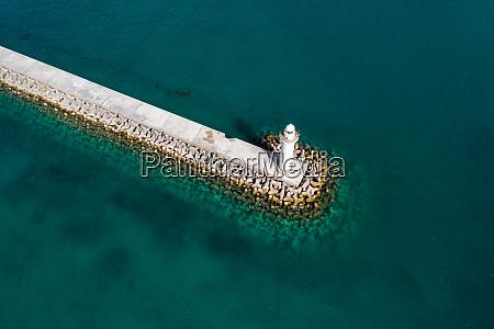 aerial view of breakwater