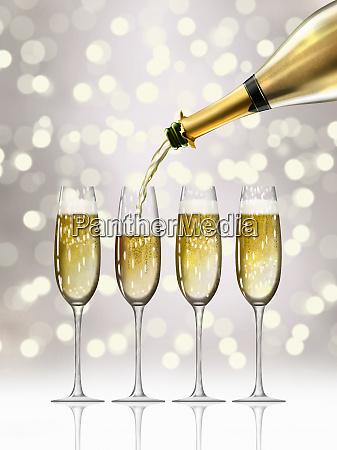 gold champagne bottle filling sparkling champagne